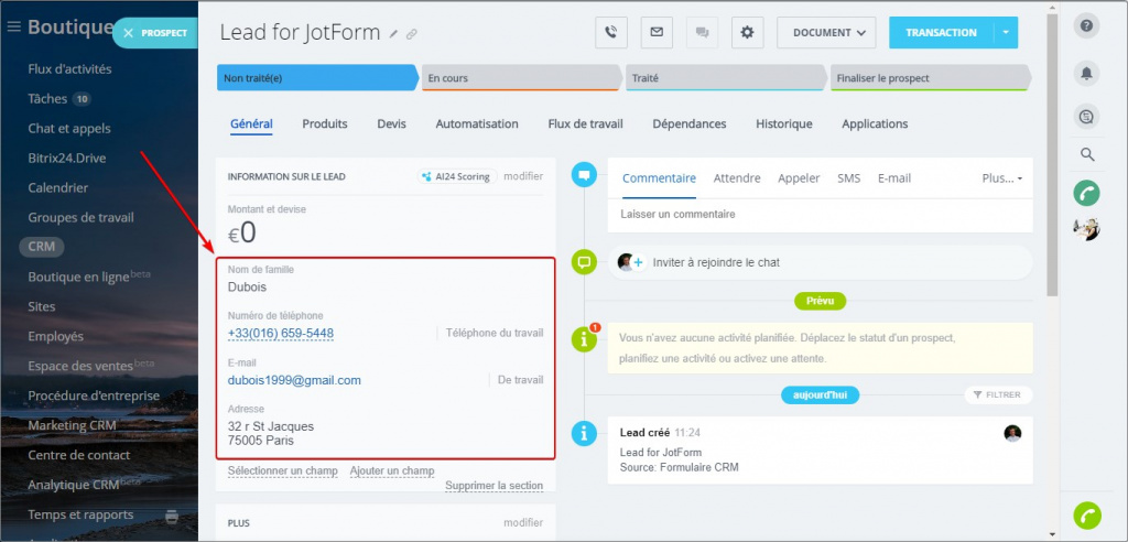 Application JotForm Integration