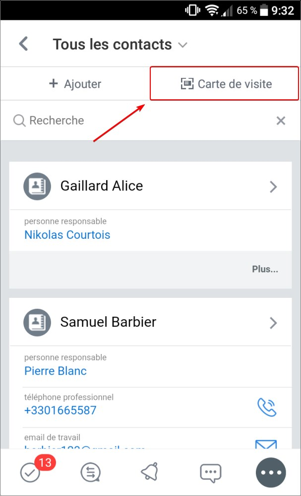CRM dans l'application Bitrix24 Mobile