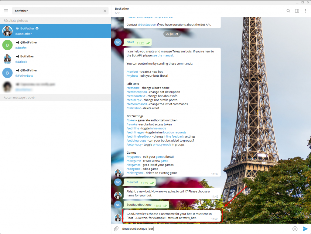 Connecter un bot Telegram