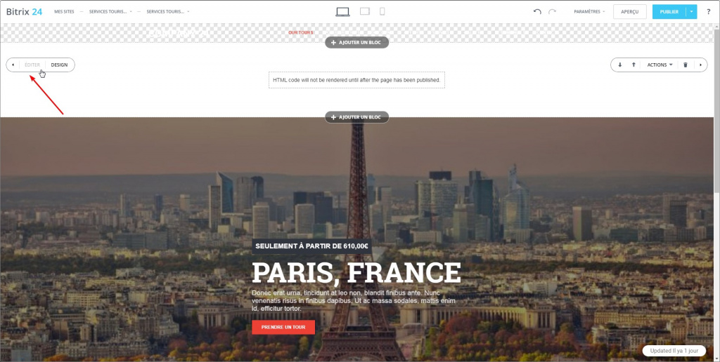 Phrases dans le widget du site web