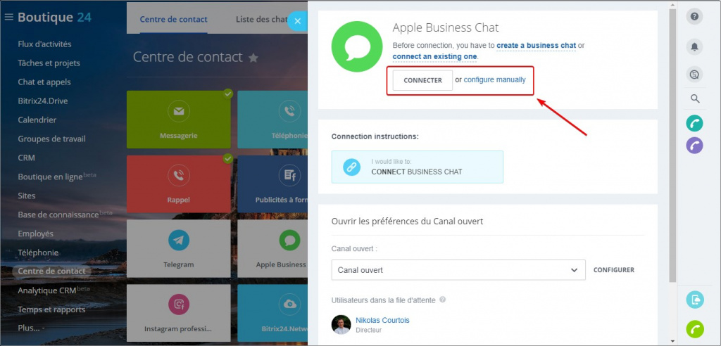 Canaux ouverts : Apple Business Chat