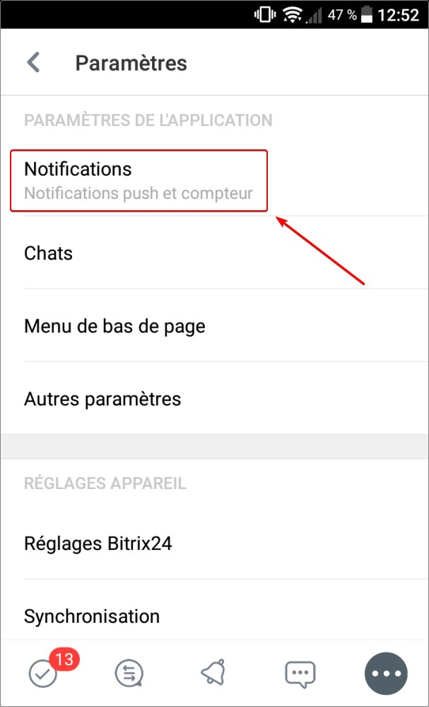 Activer les notifications push